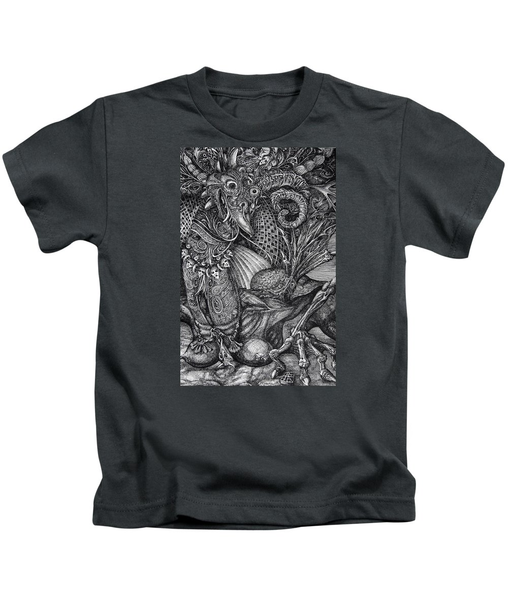 Surrealism Kids T-Shirt featuring the drawing Jabberwocky by Otto Rapp