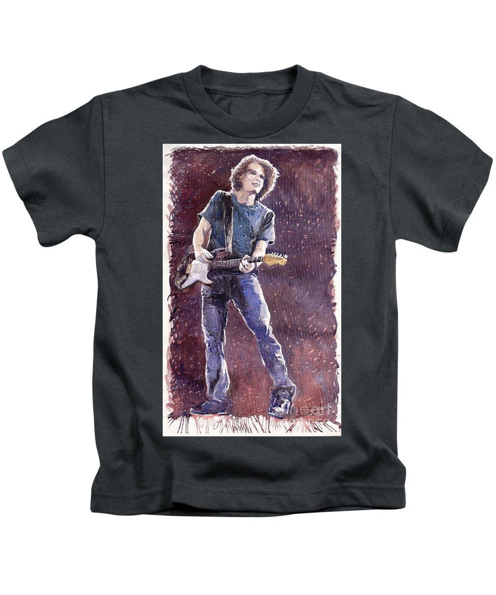 Jazz Kids T-Shirt featuring the painting Jazz Rock John Mayer 01 by Yuriy Shevchuk