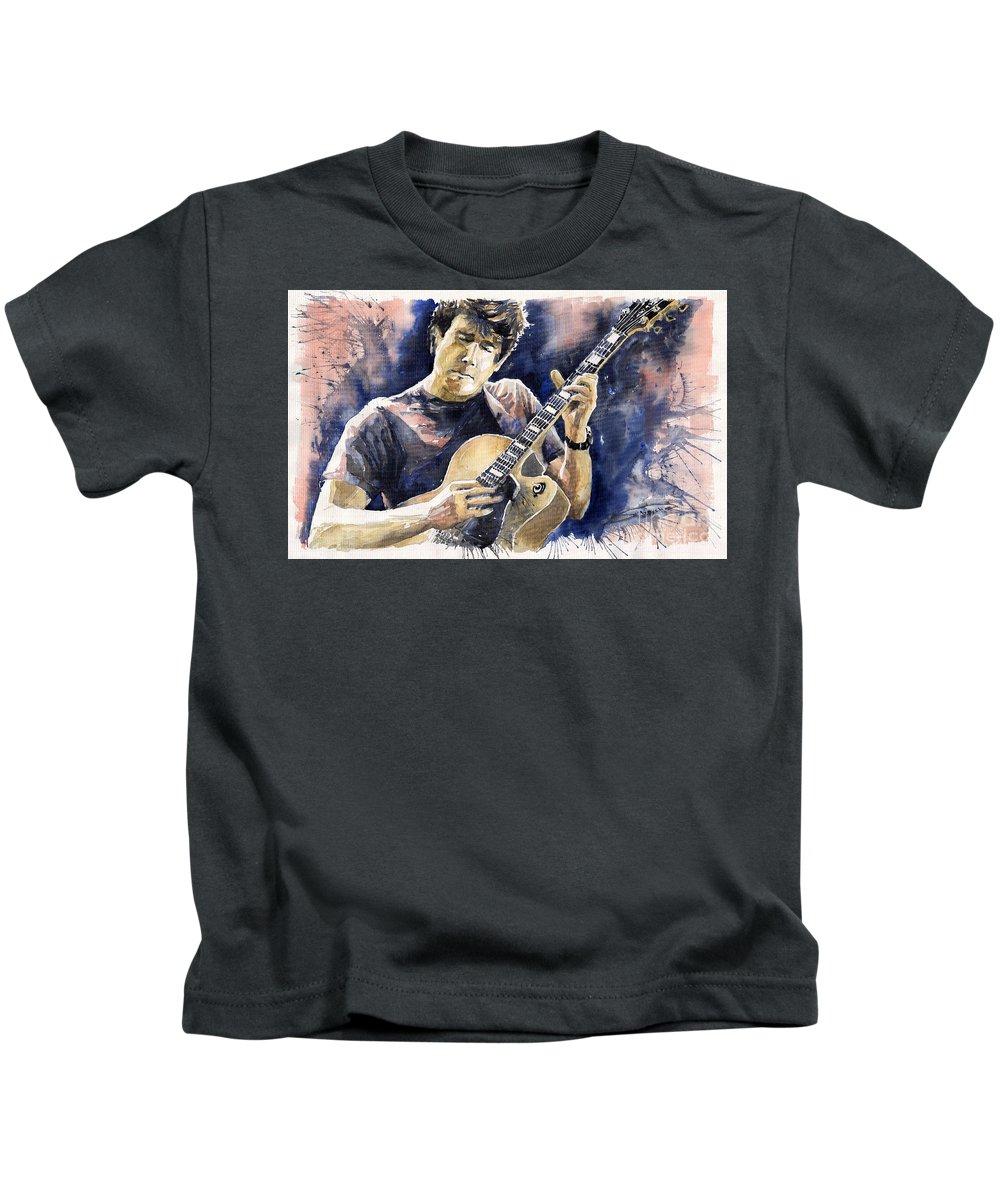 Gutarist Kids T-Shirt featuring the painting Jazz Rock John Mayer 06 by Yuriy Shevchuk