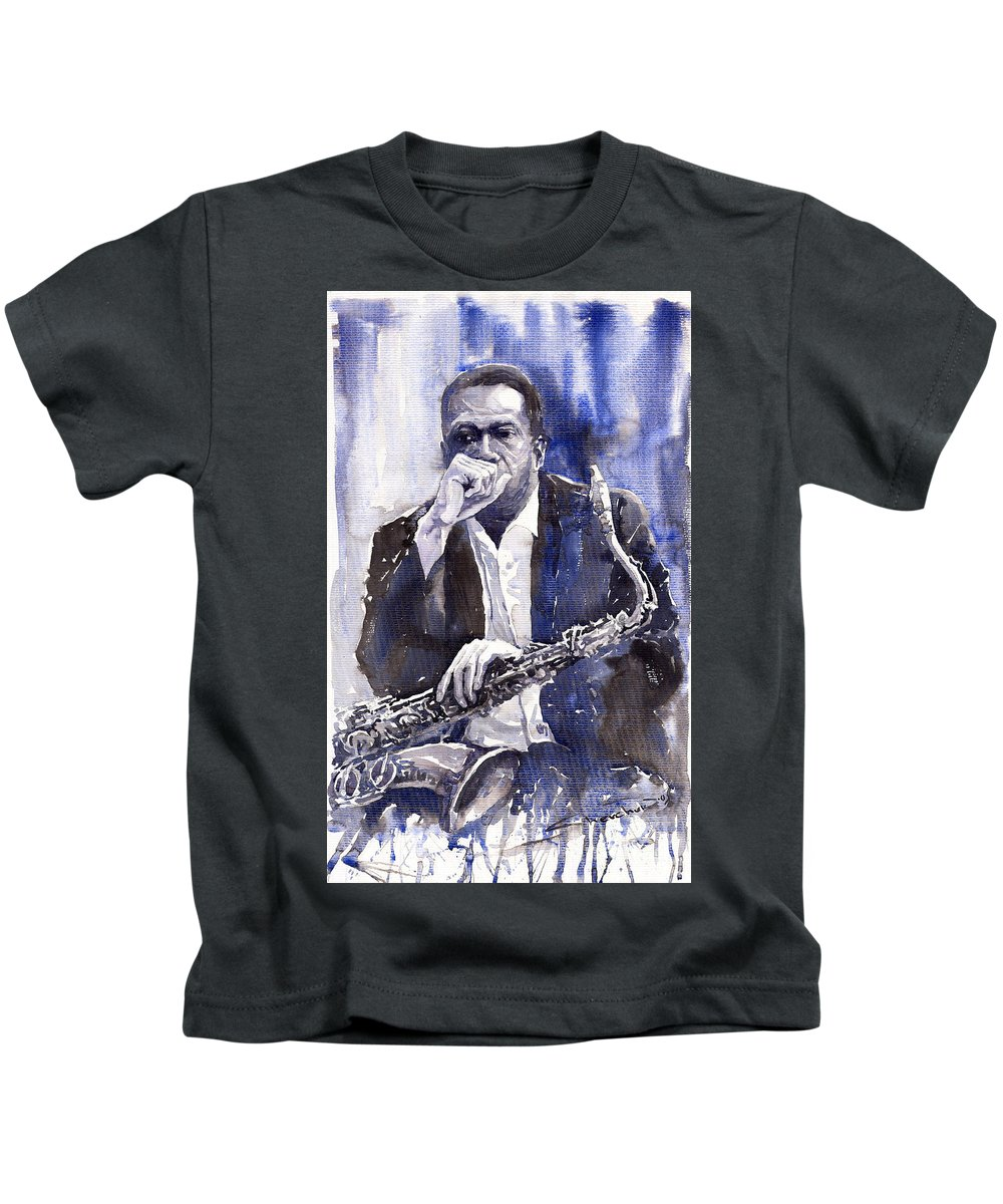 Jazz Kids T-Shirt featuring the painting Jazz Saxophonist John Coltrane Blue by Yuriy Shevchuk