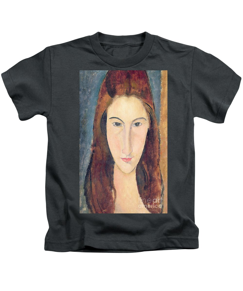 Modigliani Kids T-Shirt featuring the painting Jeanne Hebuterne by Amedeo Modigliani