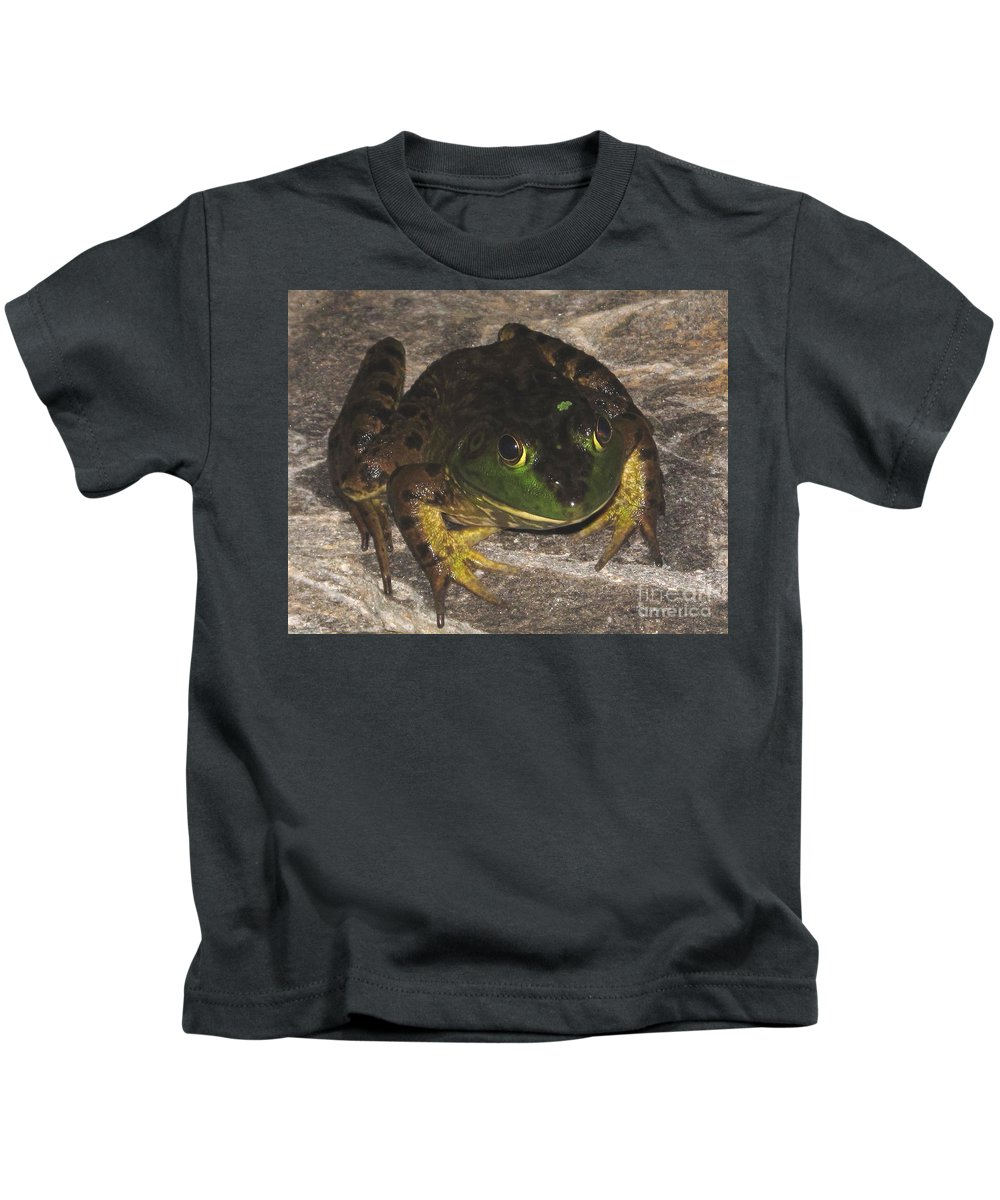 Jeremiah The Bullfrog Prints Wild Bullfrog Images North American Frogs Giant Frogs Big Green Frogs Large Frogs Aquatic Frog Species Of Maryland Amphibians Of The Chesapeake Bay Watershed Pond Life Wetland Wildlife Predatory Frogs Dark Green Frog Speies Save The Frogs Swamp Creatures Of The Forest Equestrian Animals Pond Song Loud Frogs Vocal Frogs Bassy Sound Frogs Animal Planet Fine Art Rare Nature Prints Kids T-Shirt featuring the photograph Jeremiah by Joshua Bales