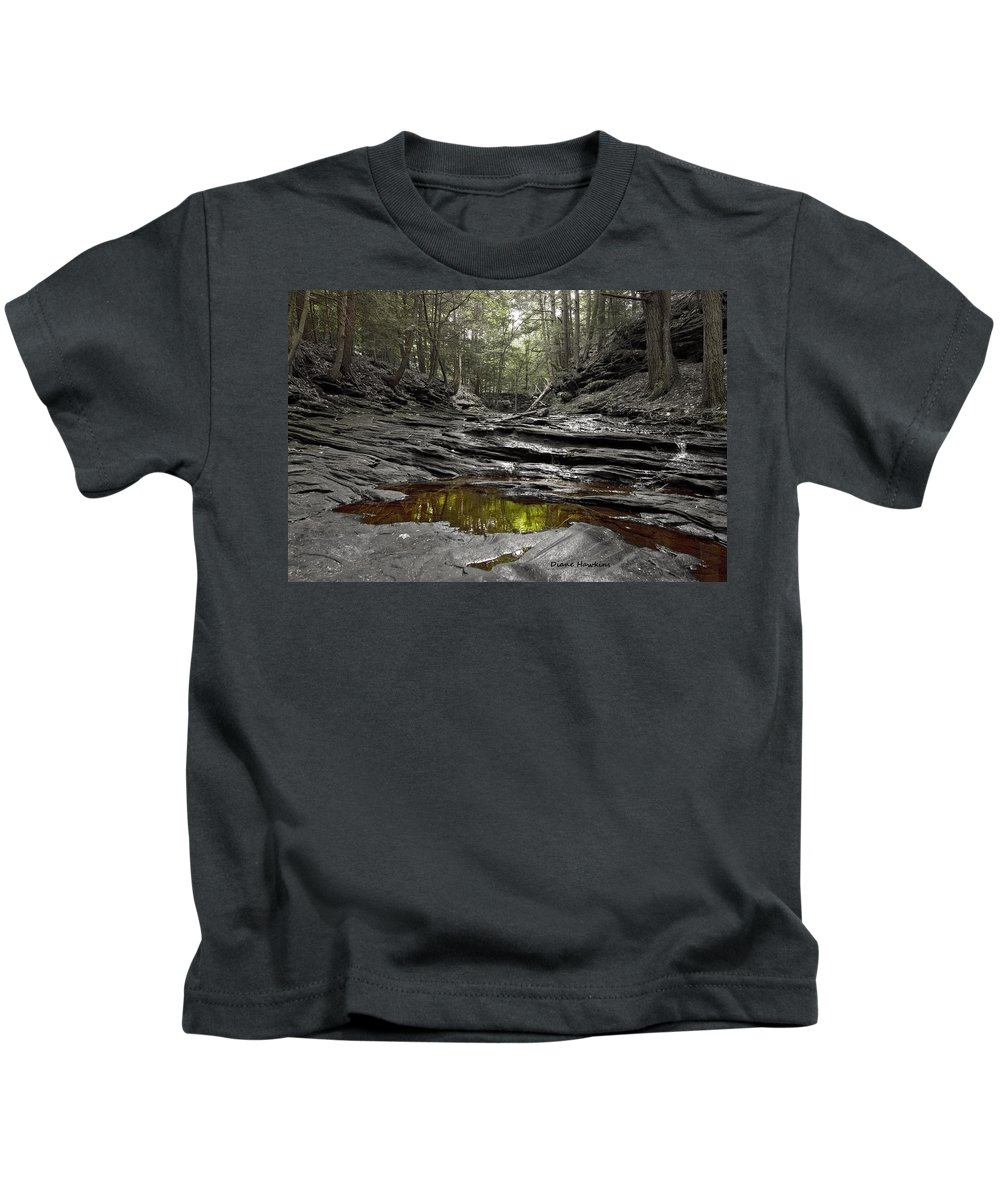 River Rocks Nature Nature Outdoors Trees Reflections Kids T-Shirt featuring the photograph Jeremy River by Diane Hawkins