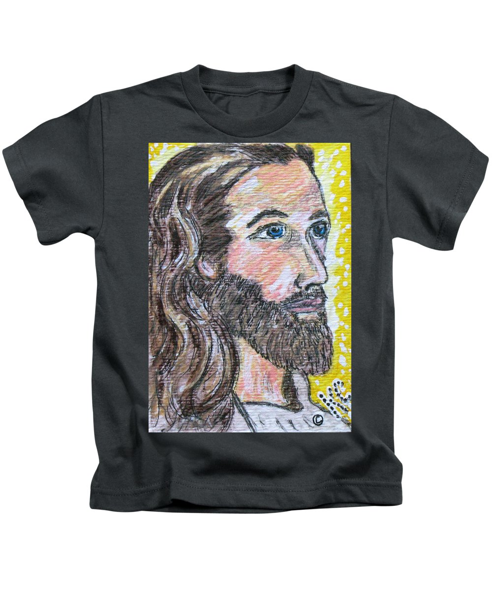 Jesus Christ Kids T-Shirt featuring the painting Jesus Christ by Kathy Marrs Chandler