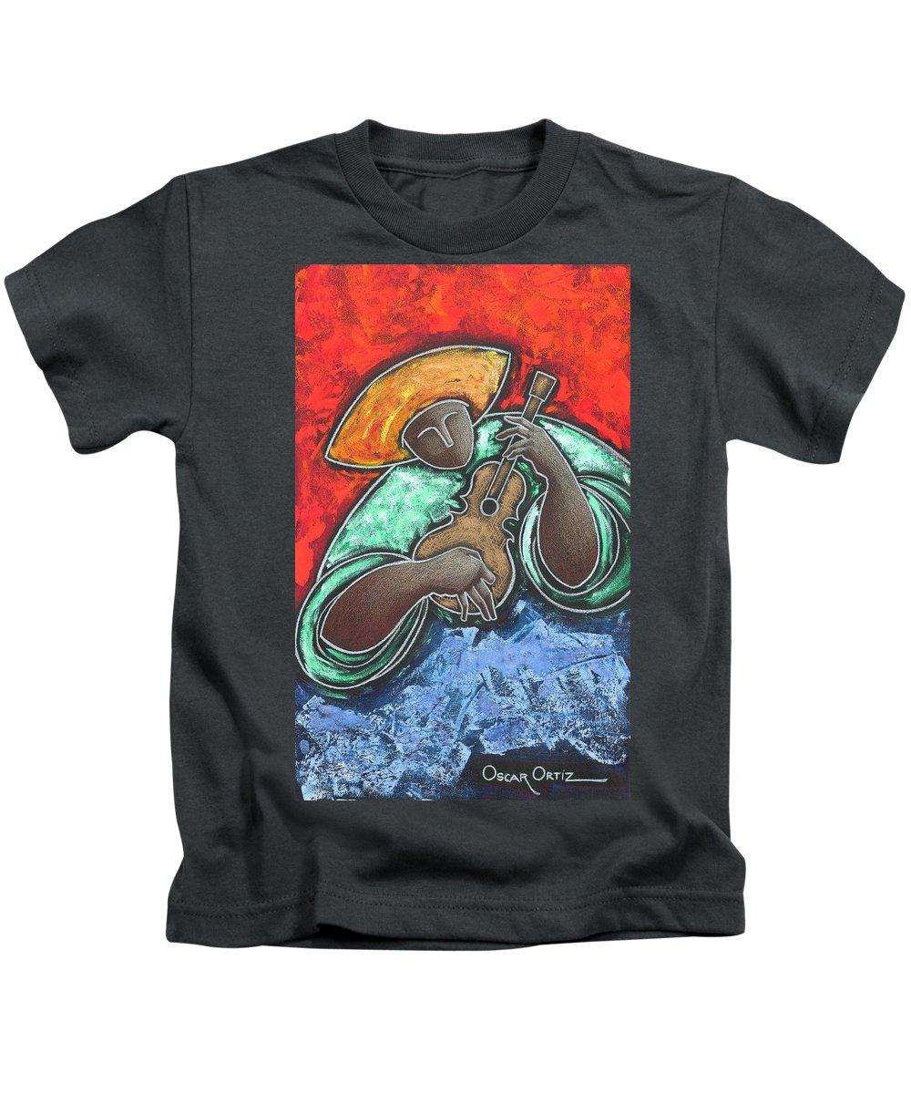 Puerto Rico Kids T-Shirt featuring the painting Jibaro Encendi'o by Oscar Ortiz