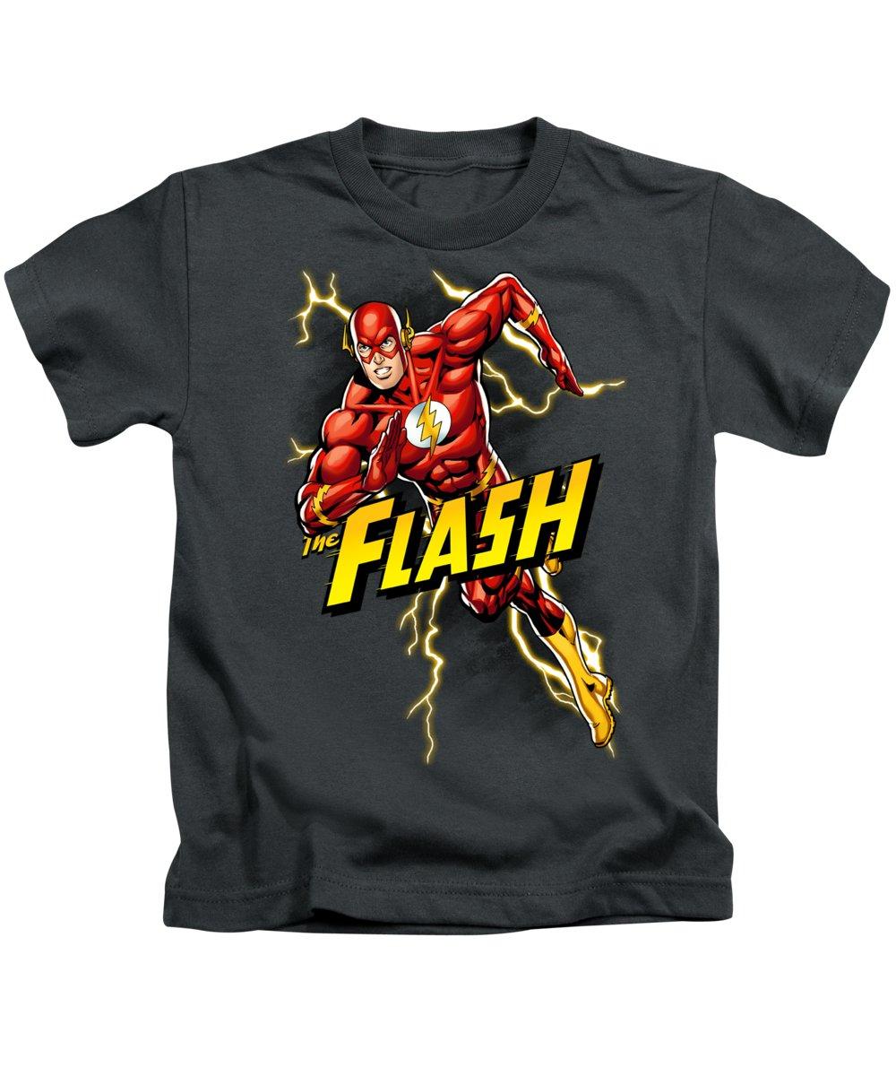 Kids T-Shirt featuring the digital art Jla - Bolt Run by Brand A