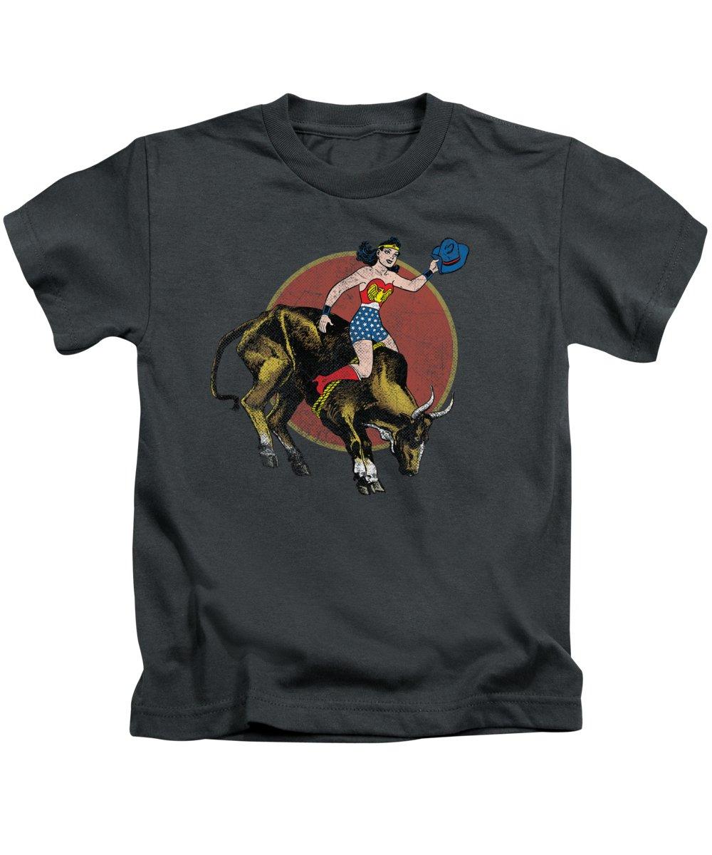 Kids T-Shirt featuring the digital art Jla - Bull Rider by Brand A