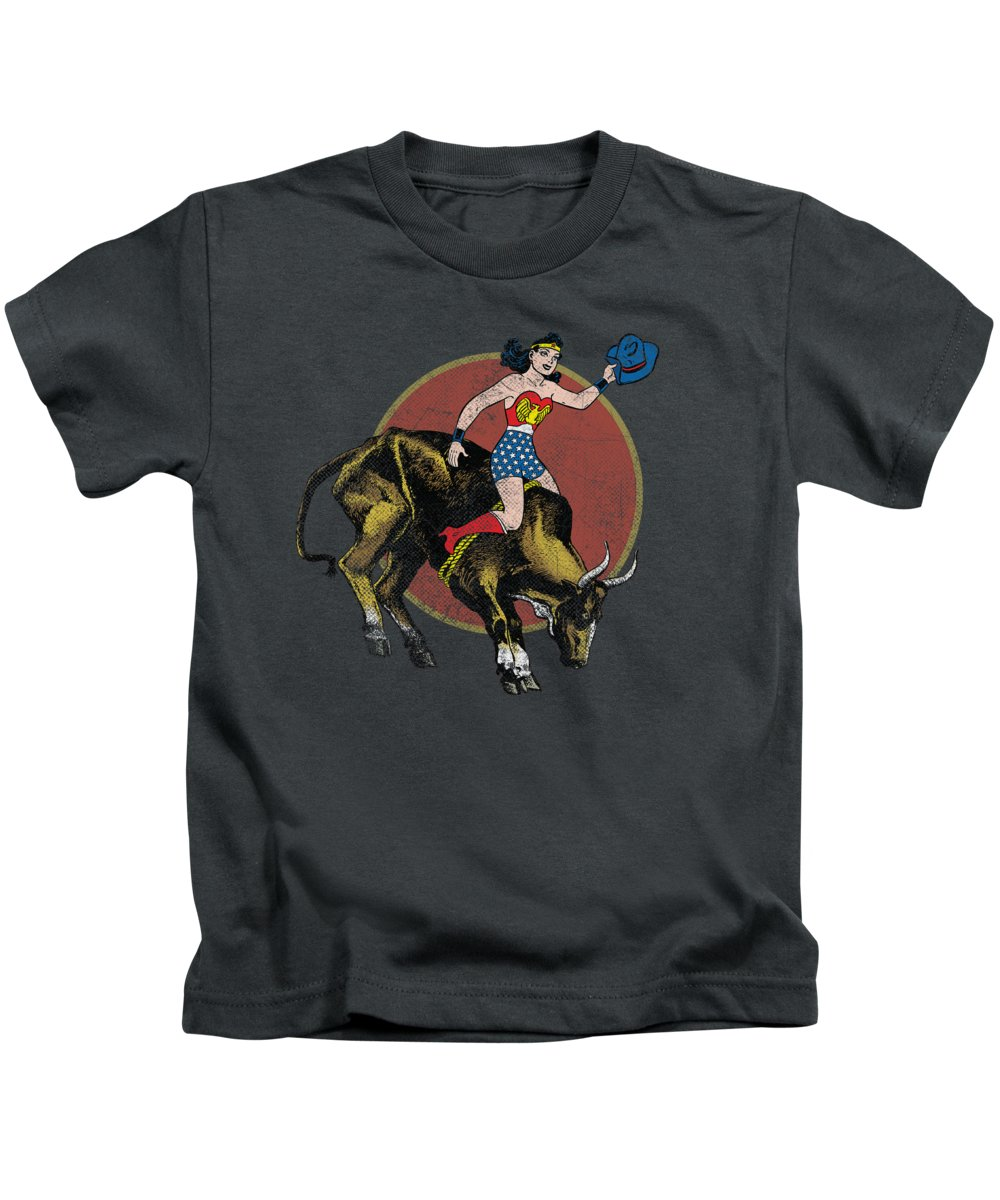 Kids T-Shirt featuring the digital art Jla - Bull Rider by Brand A