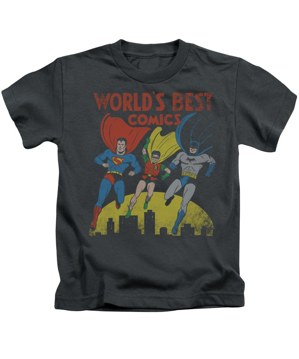 Justice League Of America Kids T-Shirt featuring the digital art Jla - World's Best by Brand A