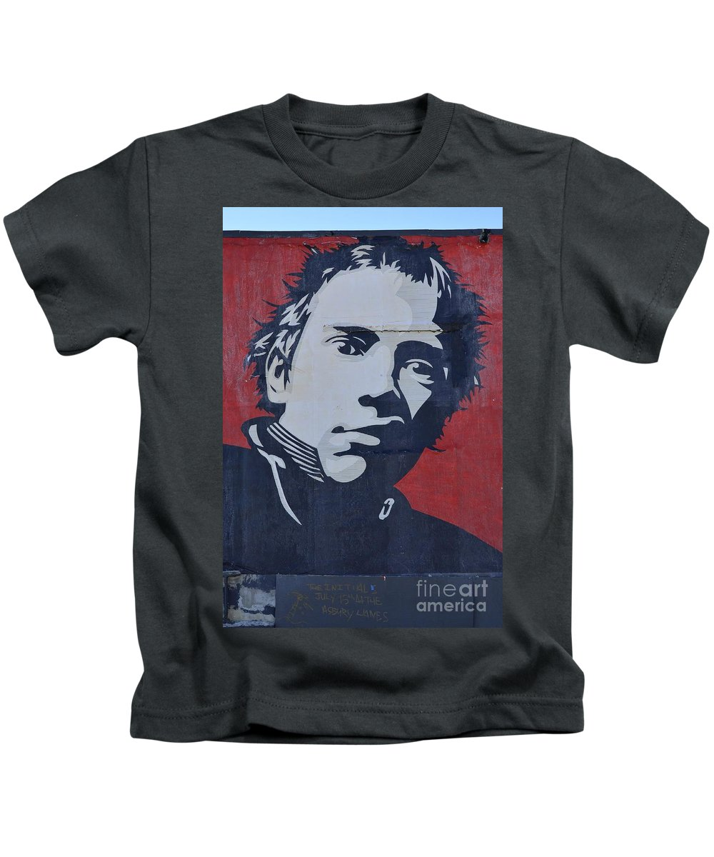 Shepard Fairey Kids T-Shirt featuring the photograph Johnny Rotten by Allen Beatty