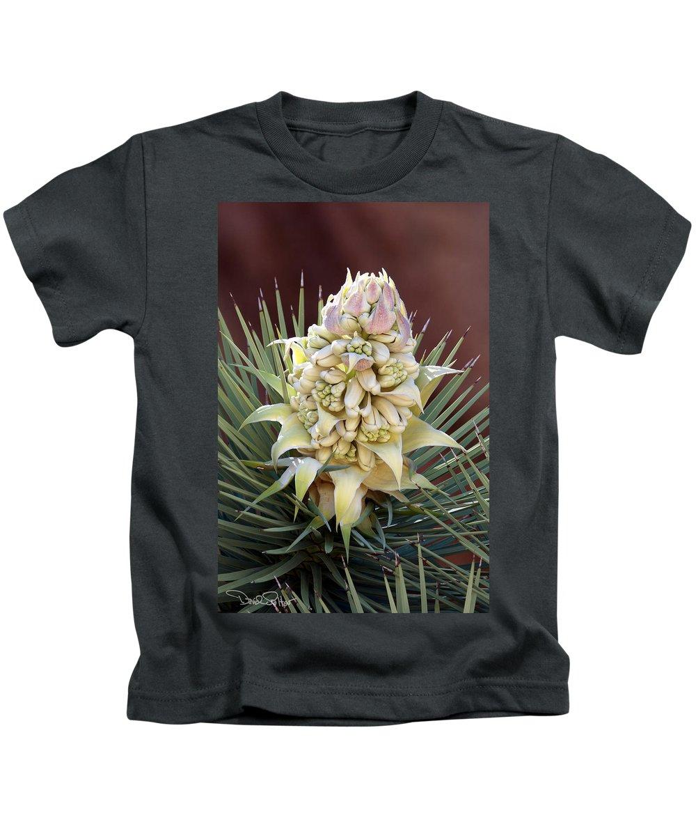 Joshua Tree Flower Kids T-Shirt featuring the photograph Joshua Tree Flower by David Salter