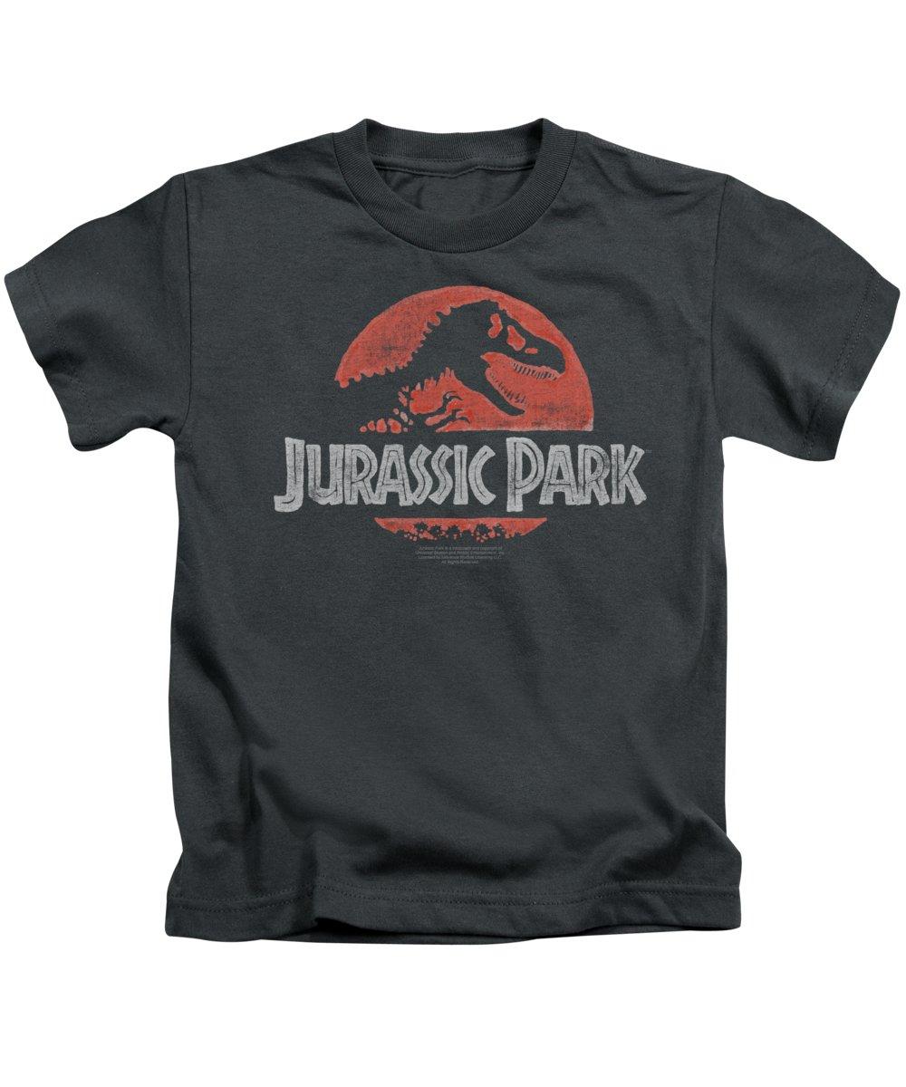 Jurassic Park Kids T-Shirt featuring the digital art Jurassic Park - Faded Logo by Brand A