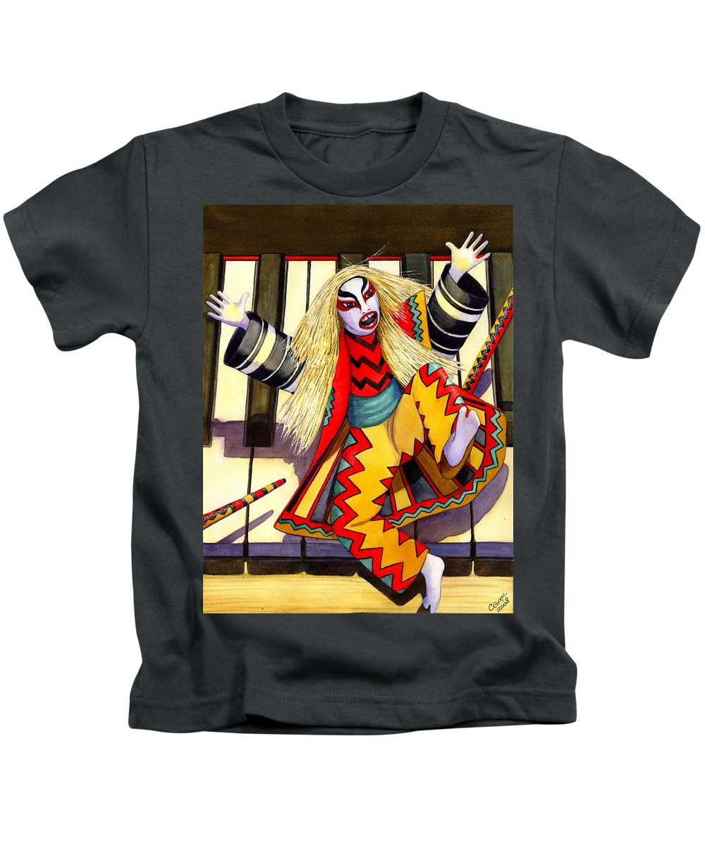 Kabuki Kids T-Shirt featuring the painting Kabuki Chopsticks 3 by Catherine G McElroy