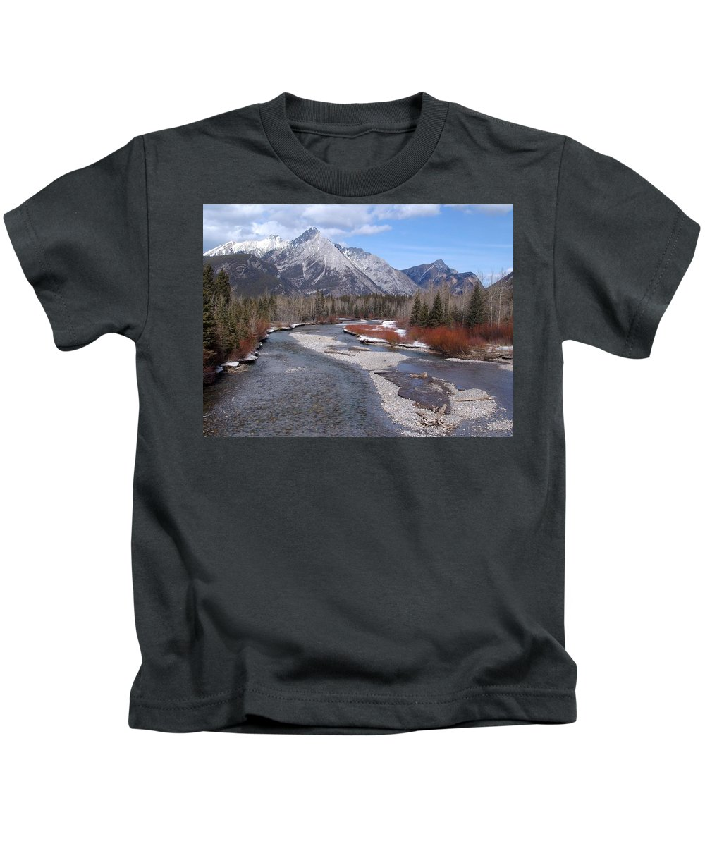 Landscape Kids T-Shirt featuring the photograph Kananaskis River by Ian Mcadie