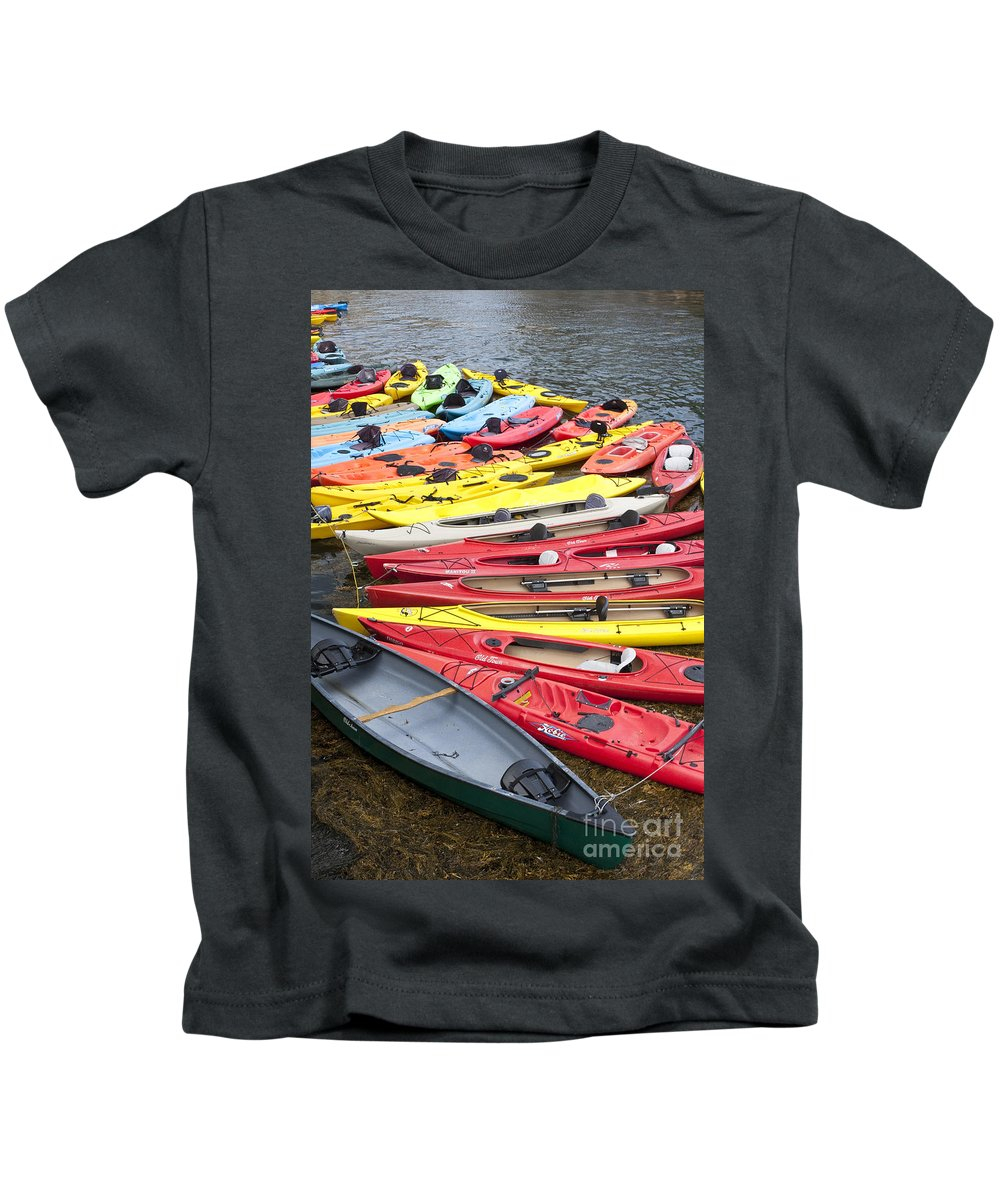Kayak Kids T-Shirt featuring the photograph Kayaks by Bryan Keil