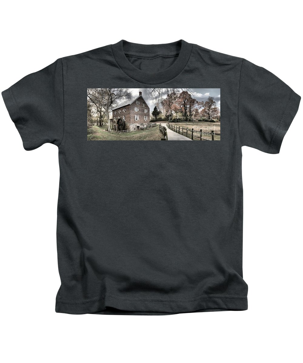 Grist Mill Kids T-Shirt featuring the photograph Kerr Grist Mill Stormy Skies Panorama by Adam Jewell