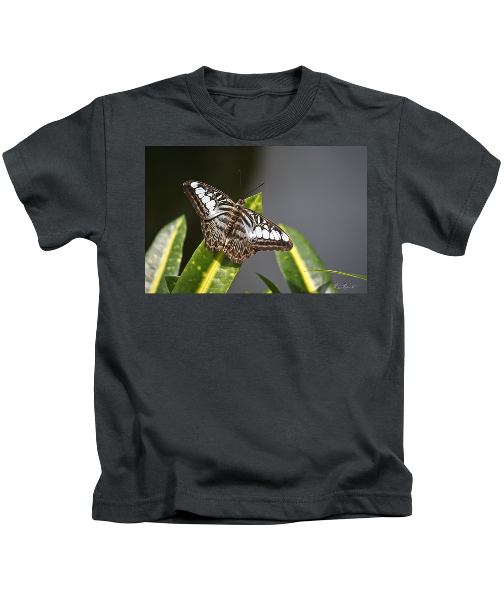 Florida Kids T-Shirt featuring the photograph Key West Butterfly Conservatory - In Brown And White by Ronald Reid
