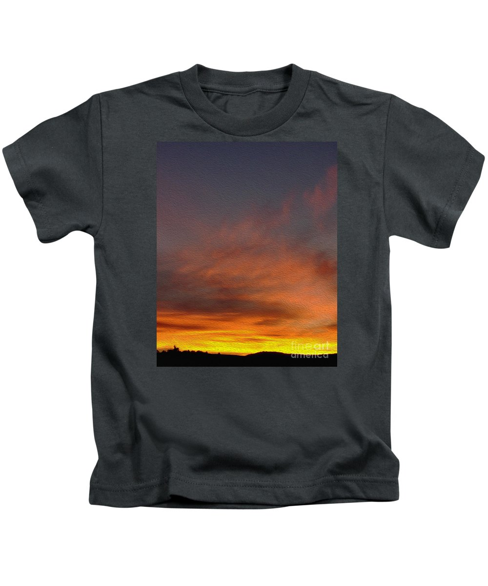 Sunset Kids T-Shirt featuring the painting Klamath Sunset Of Fire by Todd L Thomas