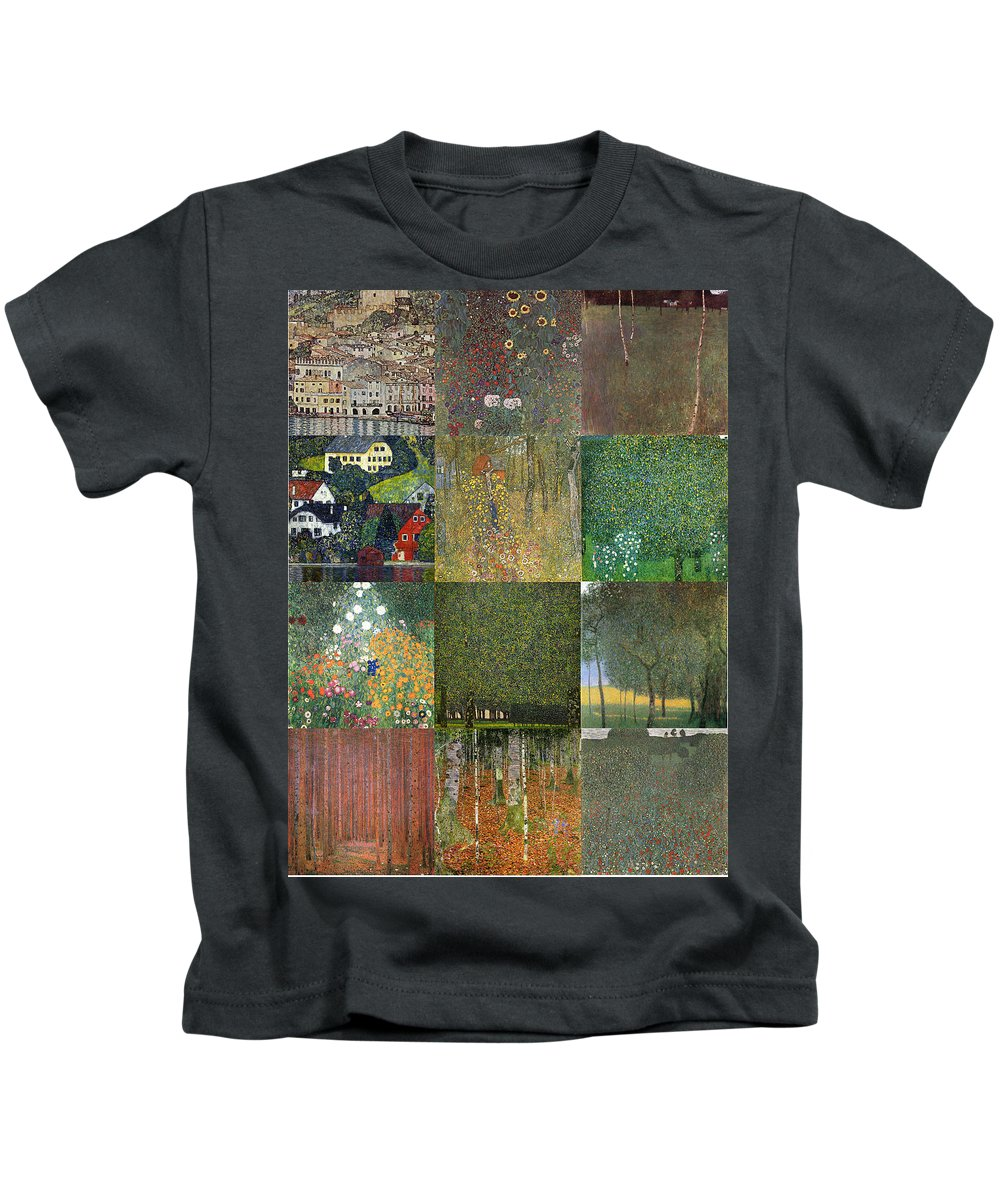 Klimt Kids T-Shirt featuring the painting Klimt Landscapes Collage by Philip Ralley
