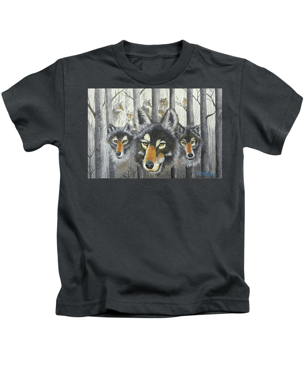 Wolves Kids T-Shirt featuring the painting Knoxville Wolves by Terry Lewey