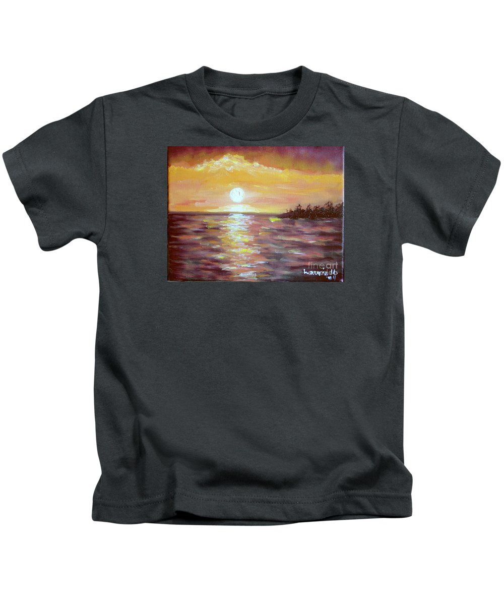Sunset Kids T-Shirt featuring the painting Kona Sunset by Laurie Morgan