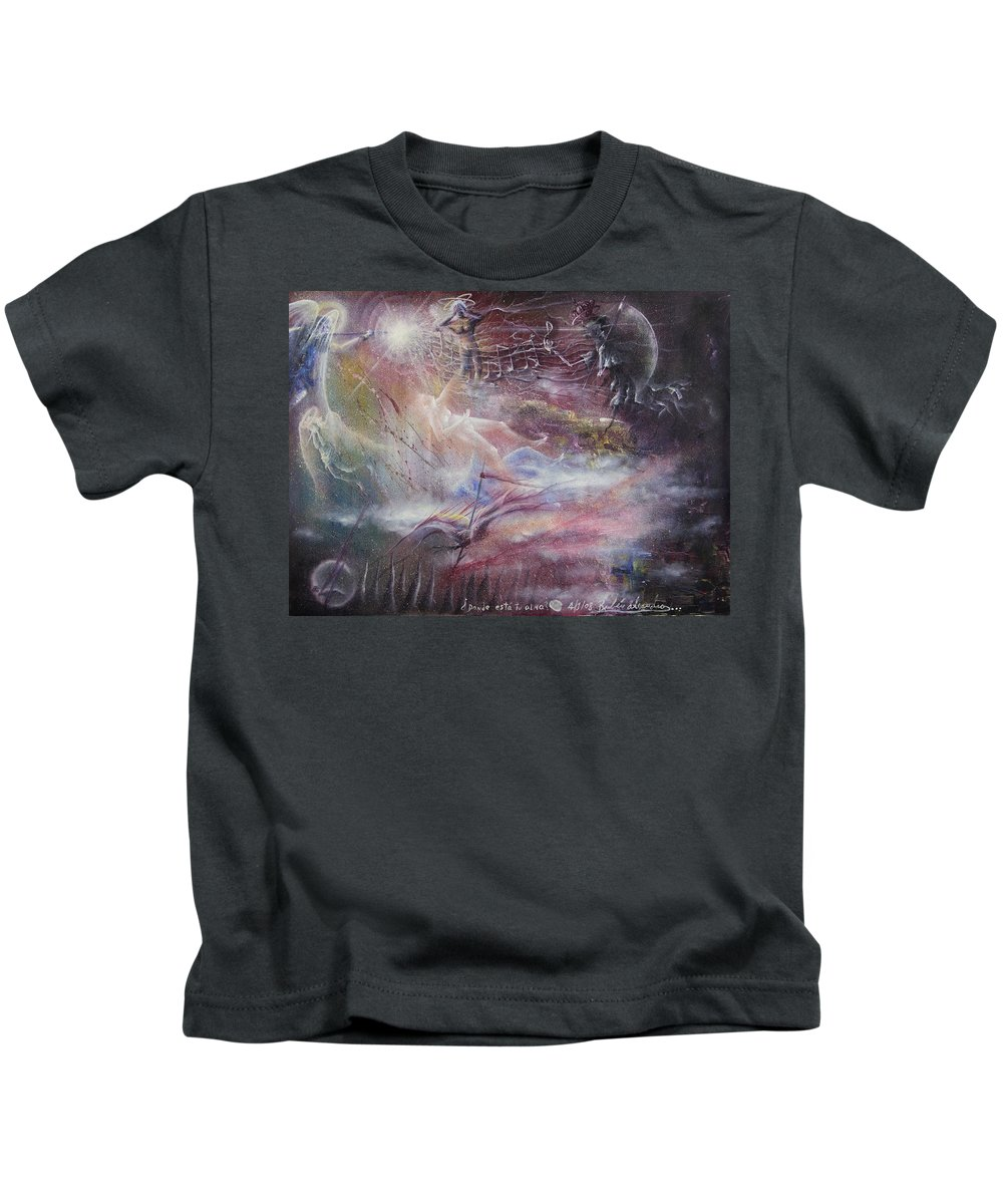 Adolescent Kids T-Shirt featuring the painting La Guerra by Ruben Santos
