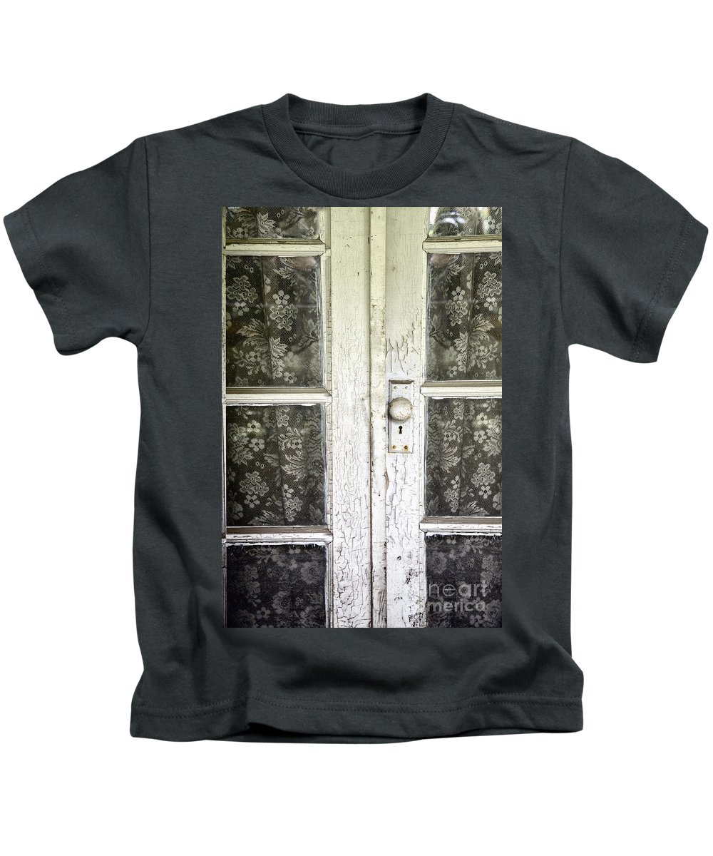 Doors Kids T-Shirt featuring the photograph Lace Curtains by Margie Hurwich