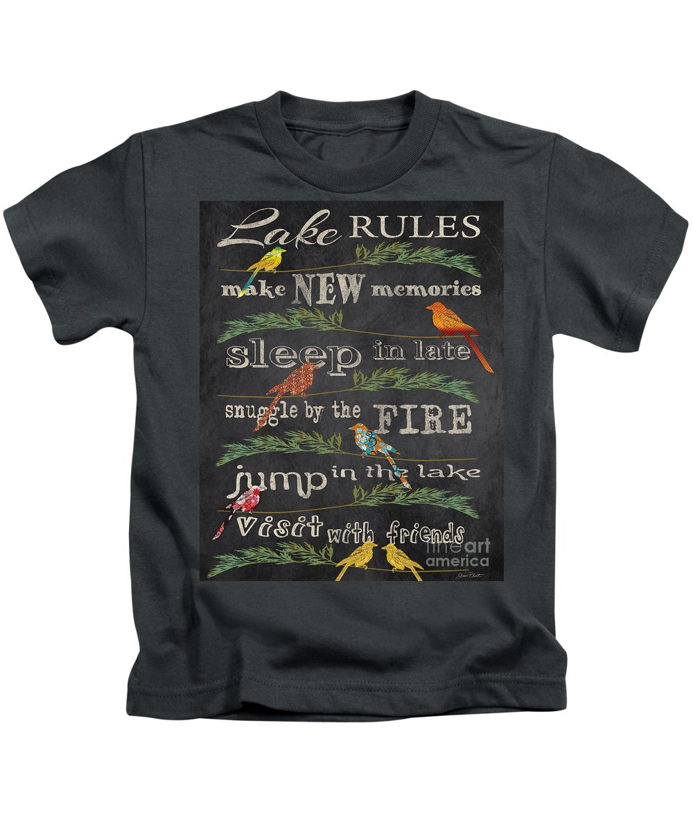 Digital Art Kids T-Shirt featuring the digital art Lake Rules With Birds-d by Jean Plout