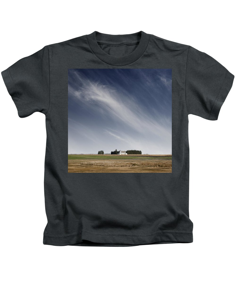 White Kids T-Shirt featuring the photograph Landscape With White Country Church by Donald Erickson