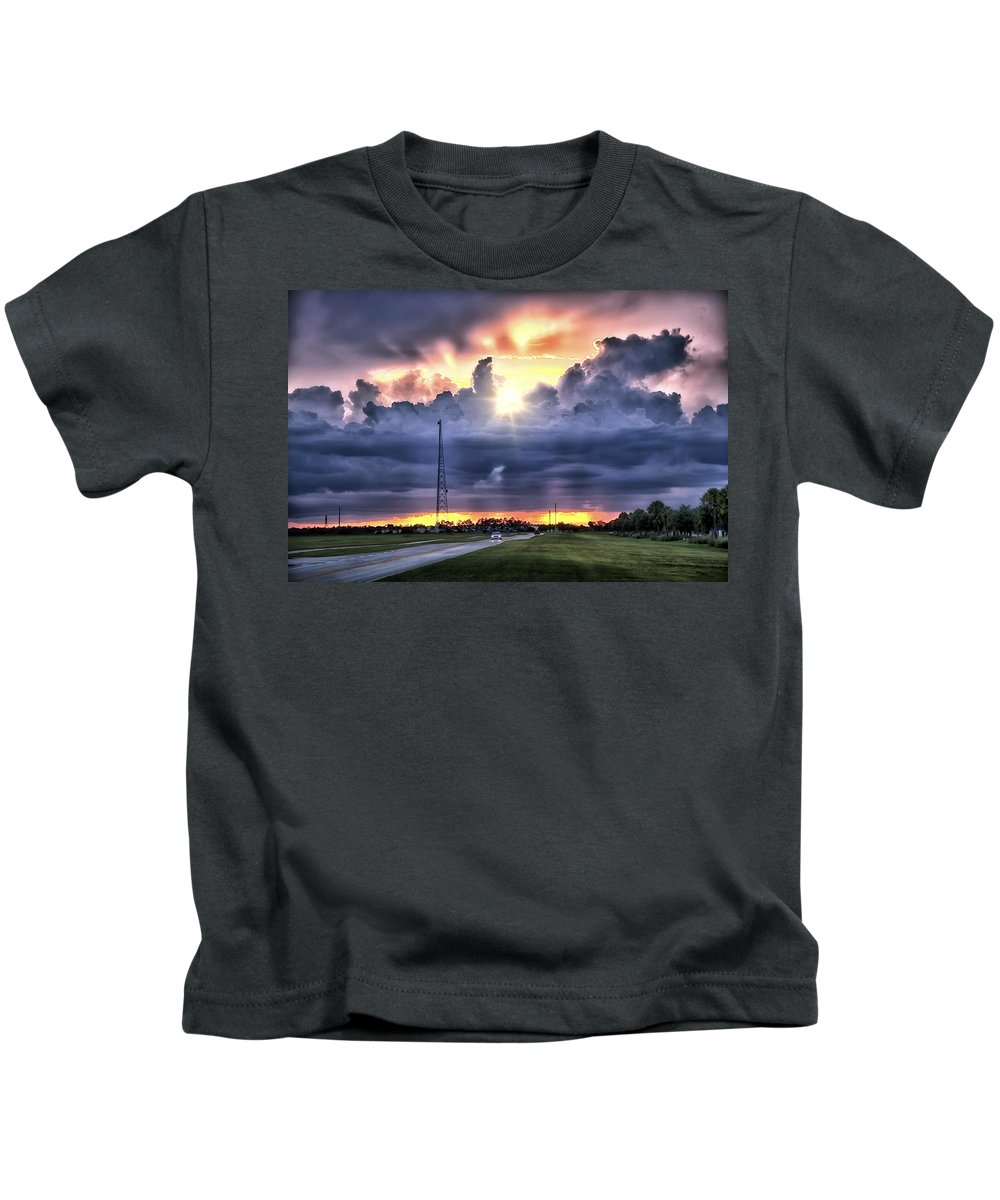 Landscape Photography Kids T-Shirt featuring the photograph Large Cloud by Louise Hill