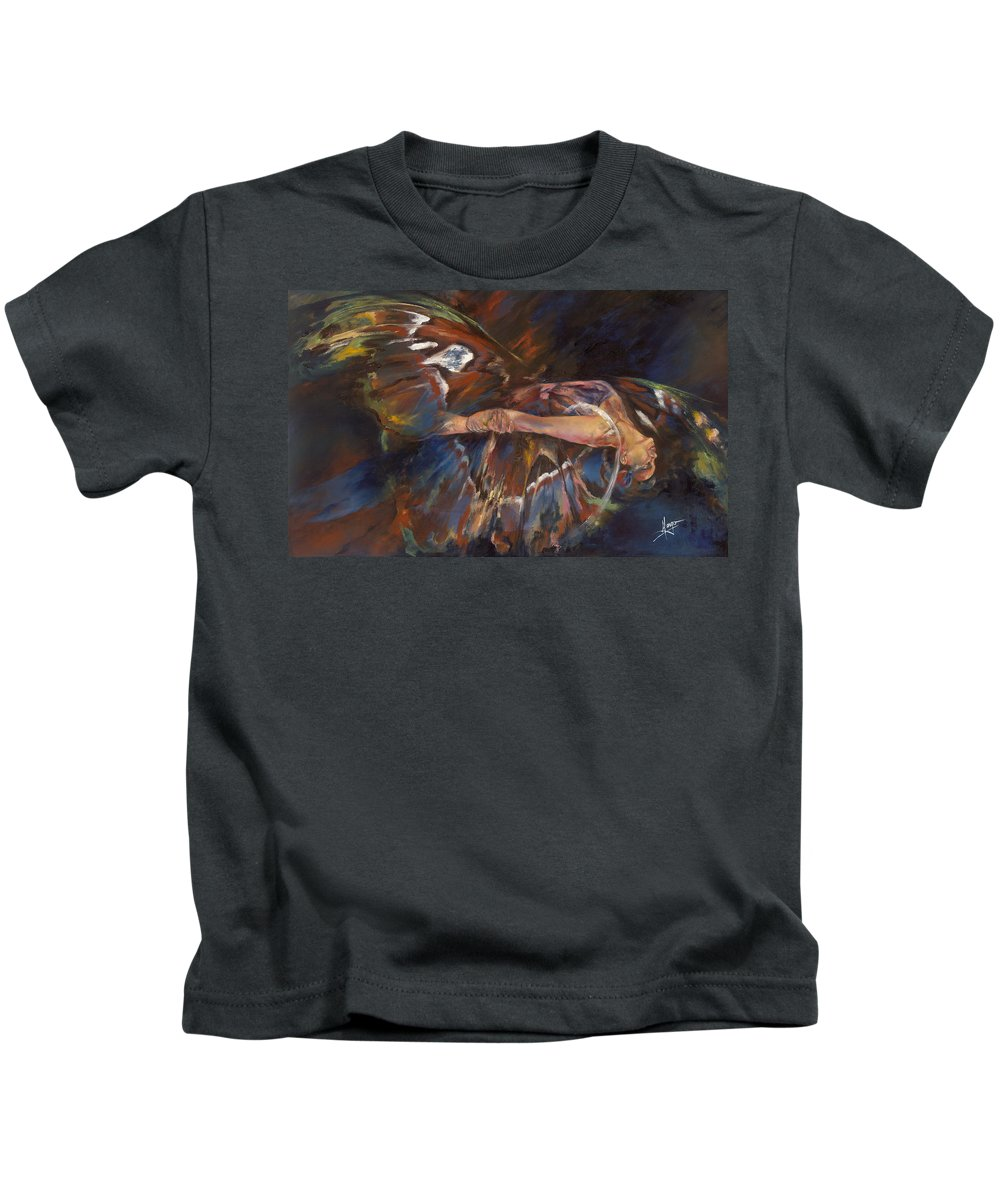 Butterfly Kids T-Shirt featuring the painting Last Flight by Karina Llergo