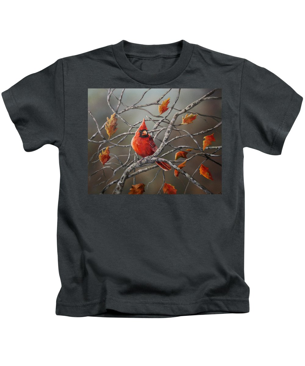 Fall Kids T-Shirt featuring the painting Last Of Fall Cardinal by Sarah Davis
