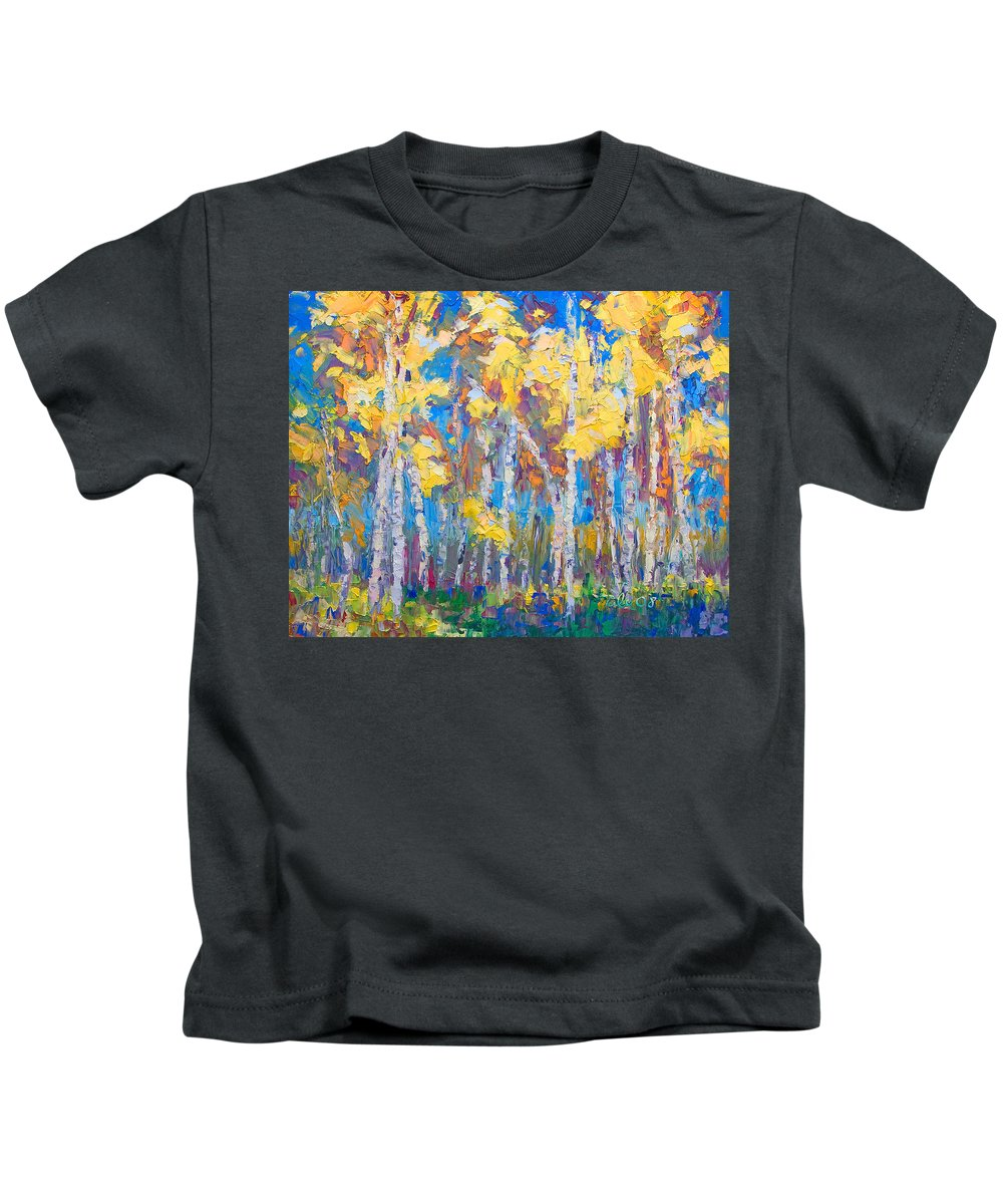 Tree Stand Kids T-Shirt featuring the painting Last Stand by Talya Johnson
