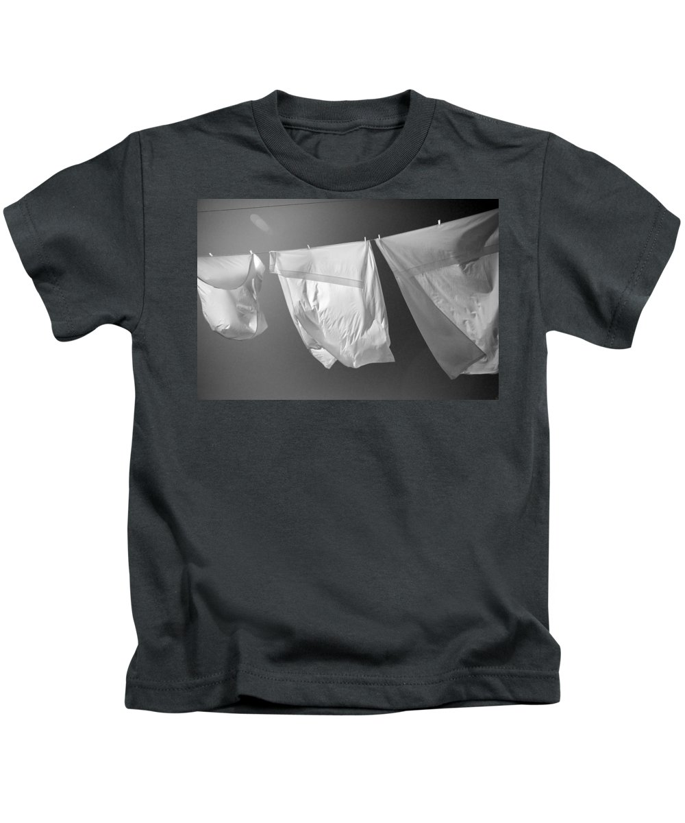 Line Drying Laundry Kids T-Shirt featuring the photograph Laundry 1 by Allan Morrison