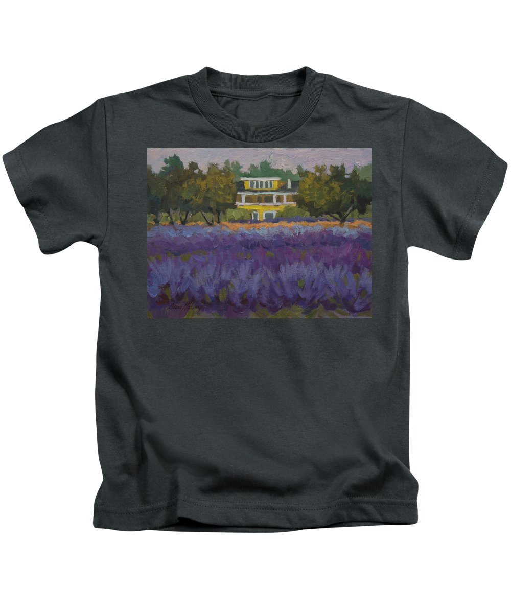 Lavender Kids T-Shirt featuring the painting Lavender Farm On Vashon Island by Diane McClary