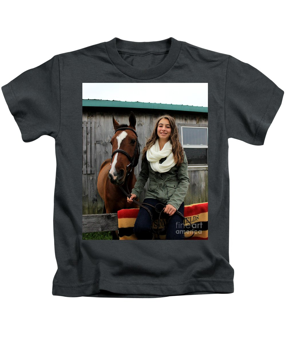 Kids T-Shirt featuring the photograph Leanna Gino 14 by Life With Horses