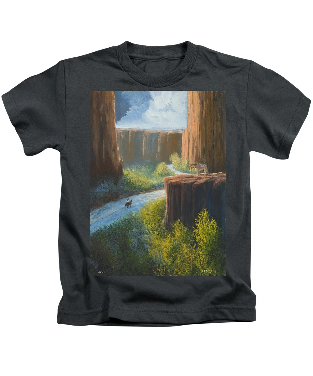 Canyon Kids T-Shirt featuring the painting Left Behind by Jerry McElroy