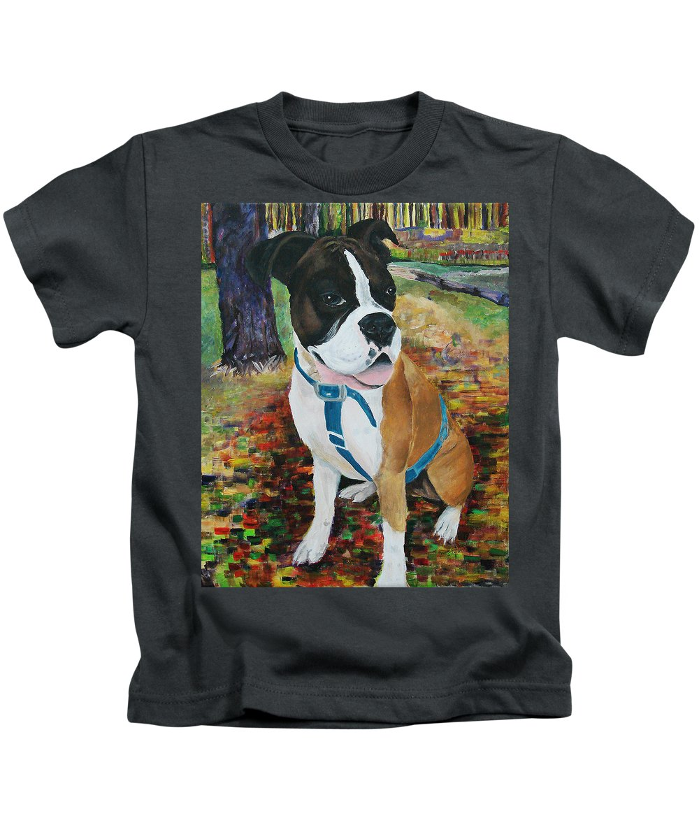 Pet Kids T-Shirt featuring the painting Lennox by Frankie Picasso