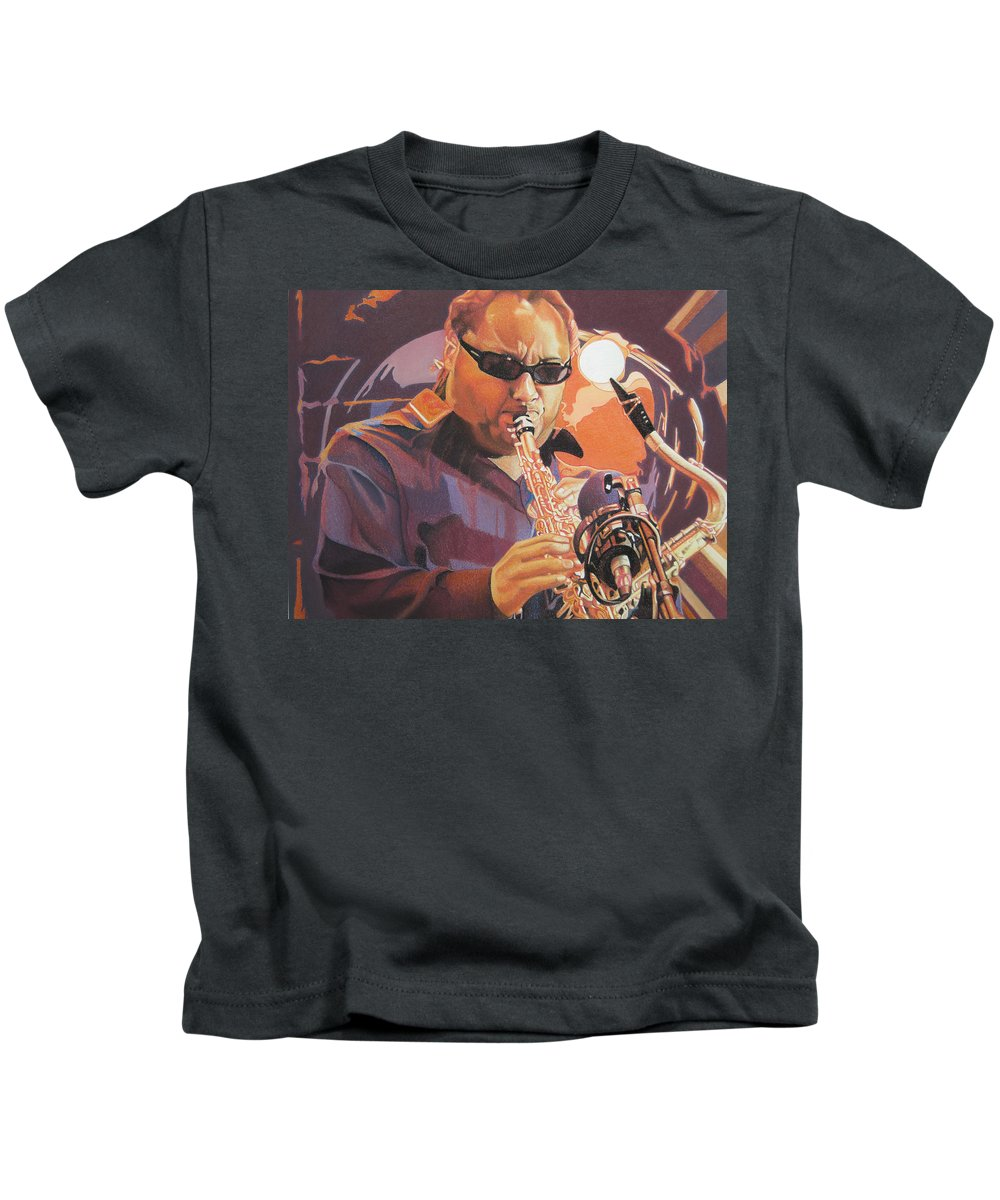 Leroi Moore Kids T-Shirt featuring the drawing Leroi Moore Purple And Orange by Joshua Morton