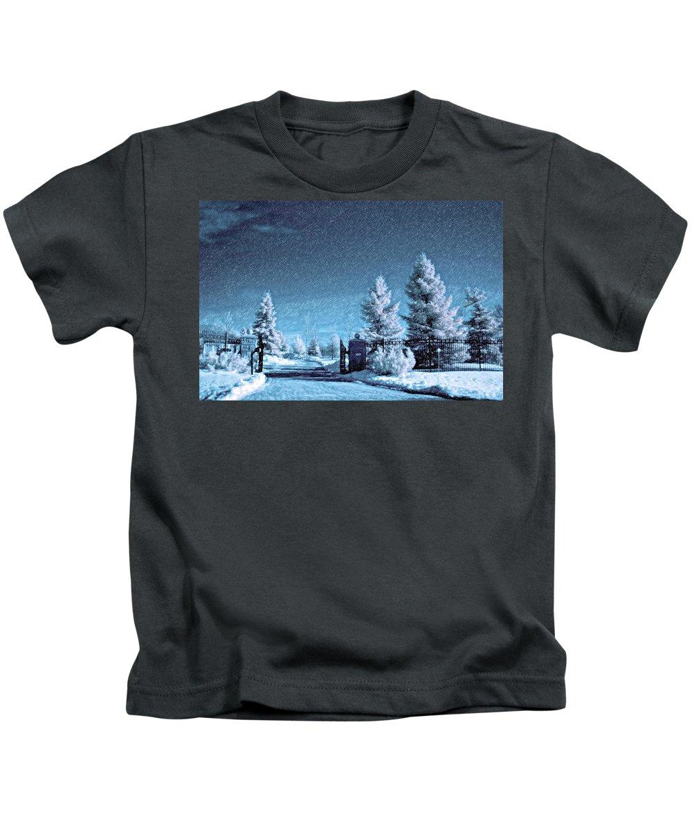 Snow Kids T-Shirt featuring the photograph Let It Snow Blue Version by Steve Harrington