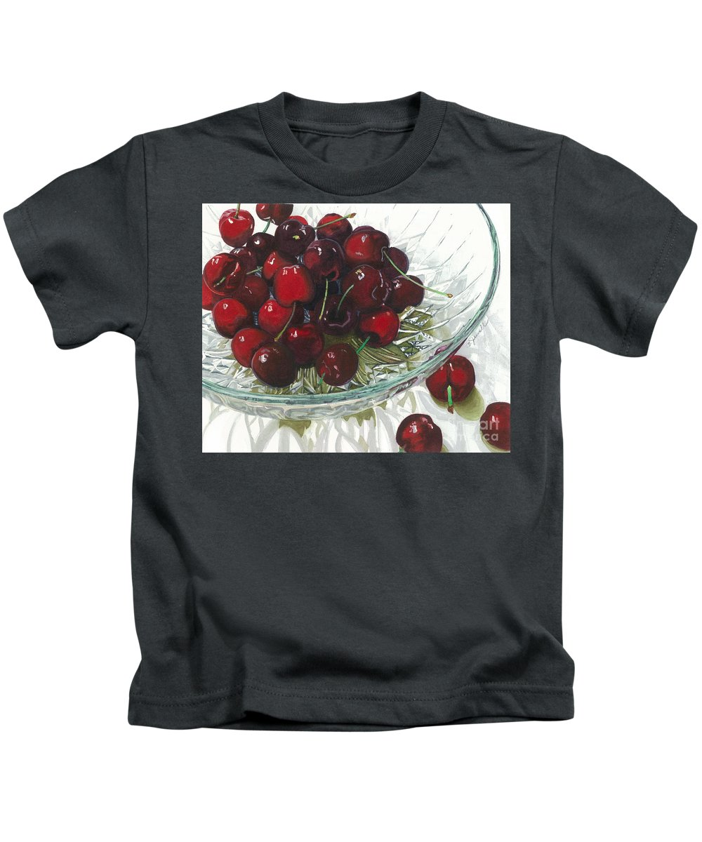 Fruit Kids T-Shirt featuring the painting Life Is Just A - - - by Barbara Jewell