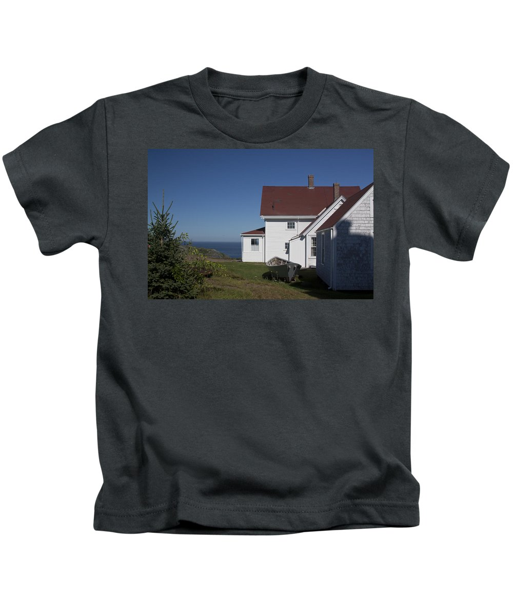 Lighthouse Kids T-Shirt featuring the photograph Lighthouse Monhegan Color by Jean Macaluso
