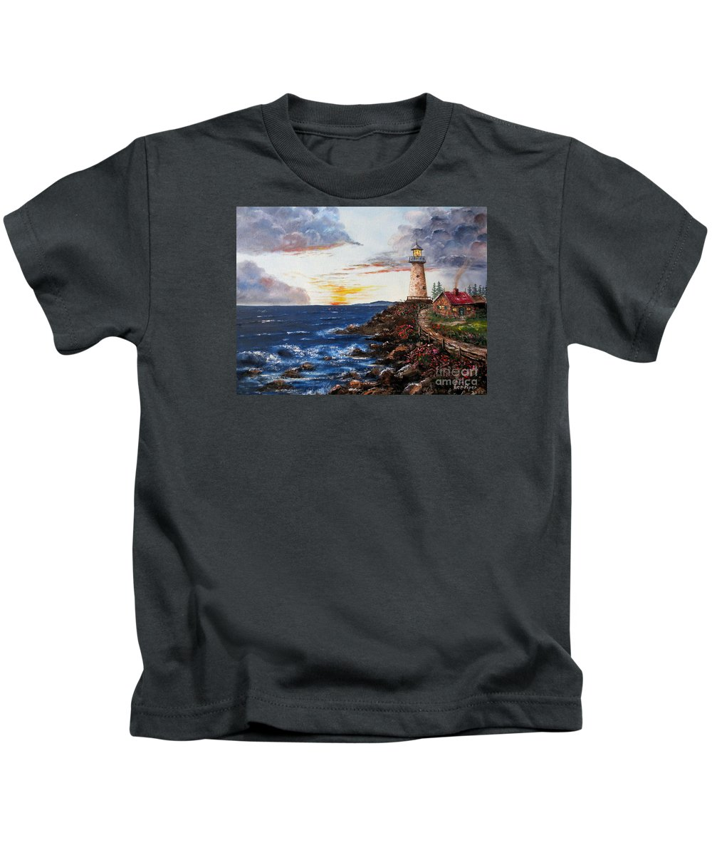 Lighthouse Painting Kids T-Shirt featuring the painting Lighthouse Road At Sunset by Lee Piper