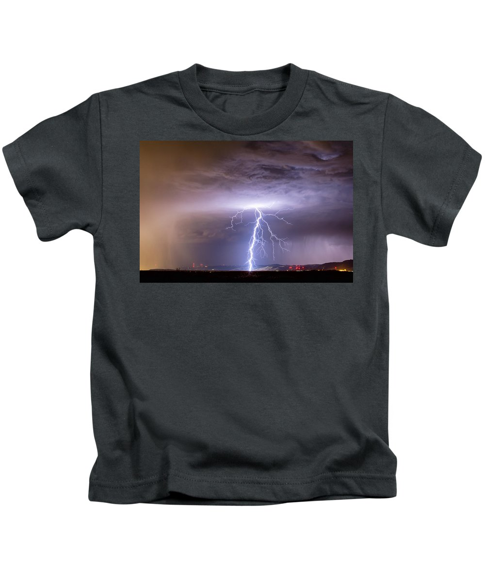 Lightning Kids T-Shirt featuring the photograph Lightning Strikes Following The Rain by James BO Insogna