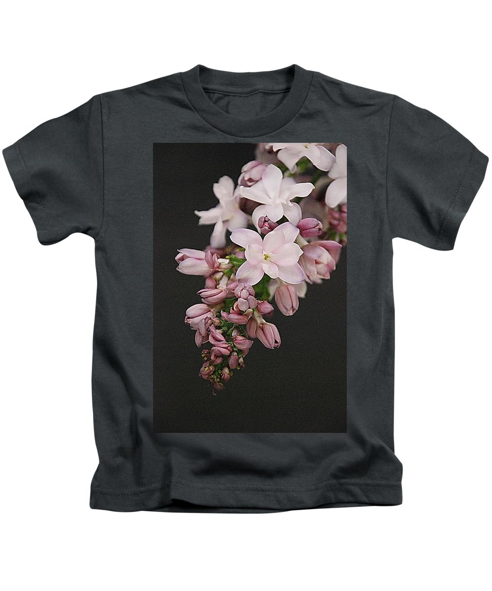 Lilac Kids T-Shirt featuring the photograph Lilac On Black by Francie Davis