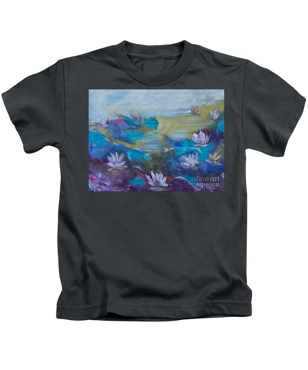Abstract Kids T-Shirt featuring the painting Lilly Pad by To-Tam Gerwe