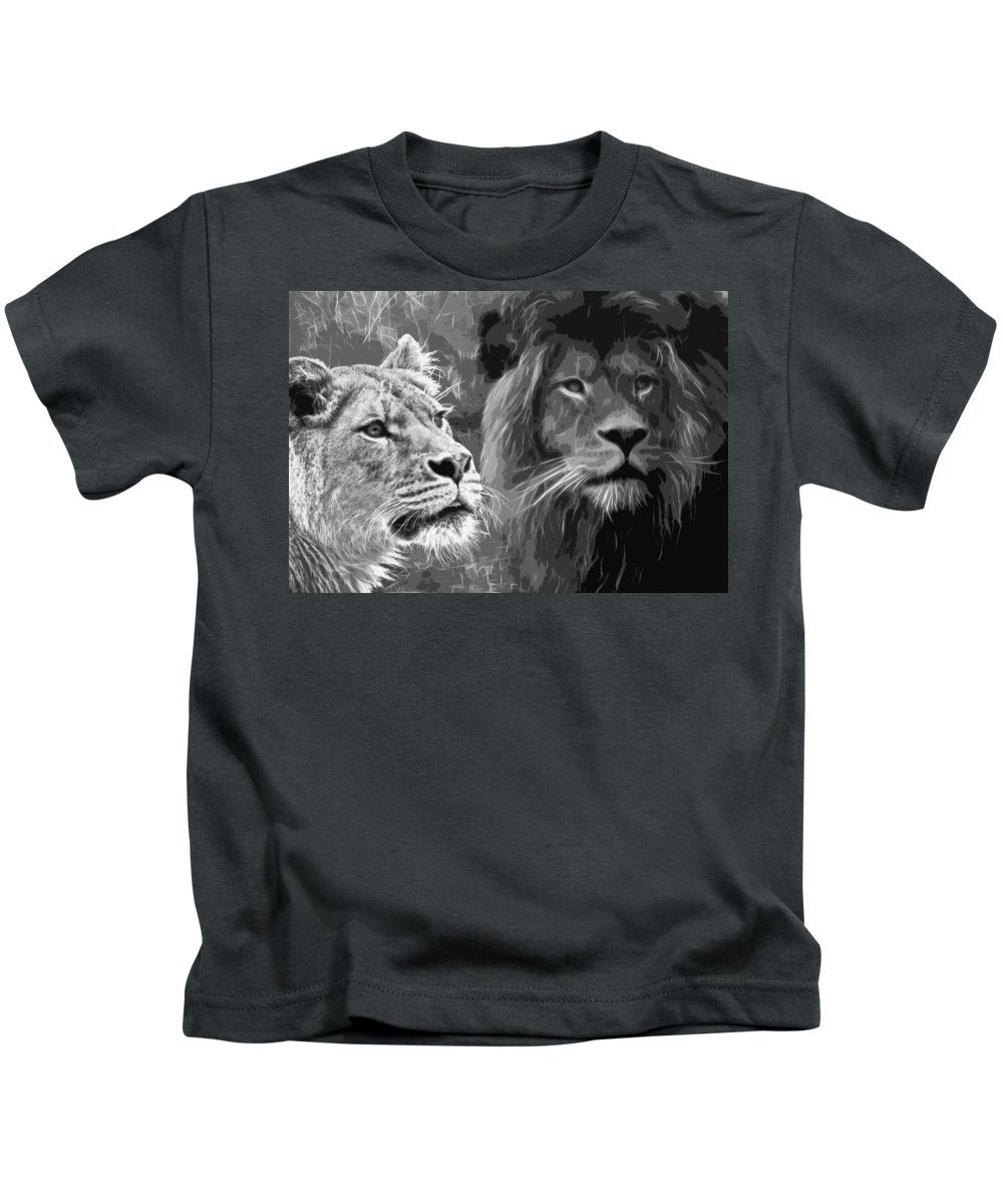 Lion Kids T-Shirt featuring the photograph Lion Pair Black And White by Steve McKinzie
