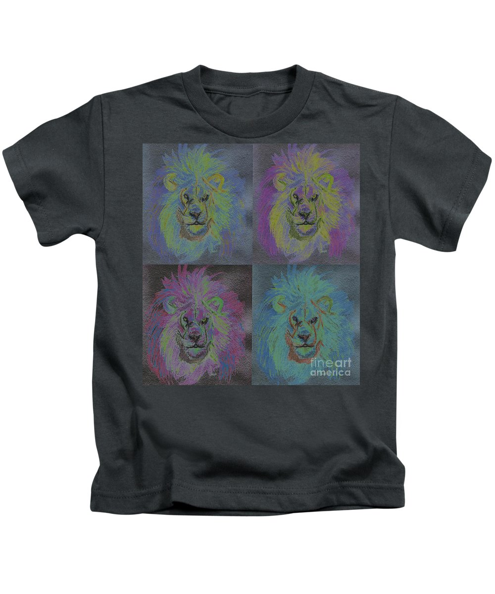 First Star Art Kids T-Shirt featuring the painting Lion X 4 Color By Jrr by First Star Art