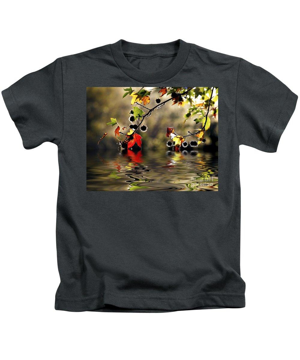 Liquidambar Maple Autumn Fall Flood Water Reflection Kids T-Shirt featuring the photograph Liquidambar In Flood by Sheila Smart Fine Art Photography
