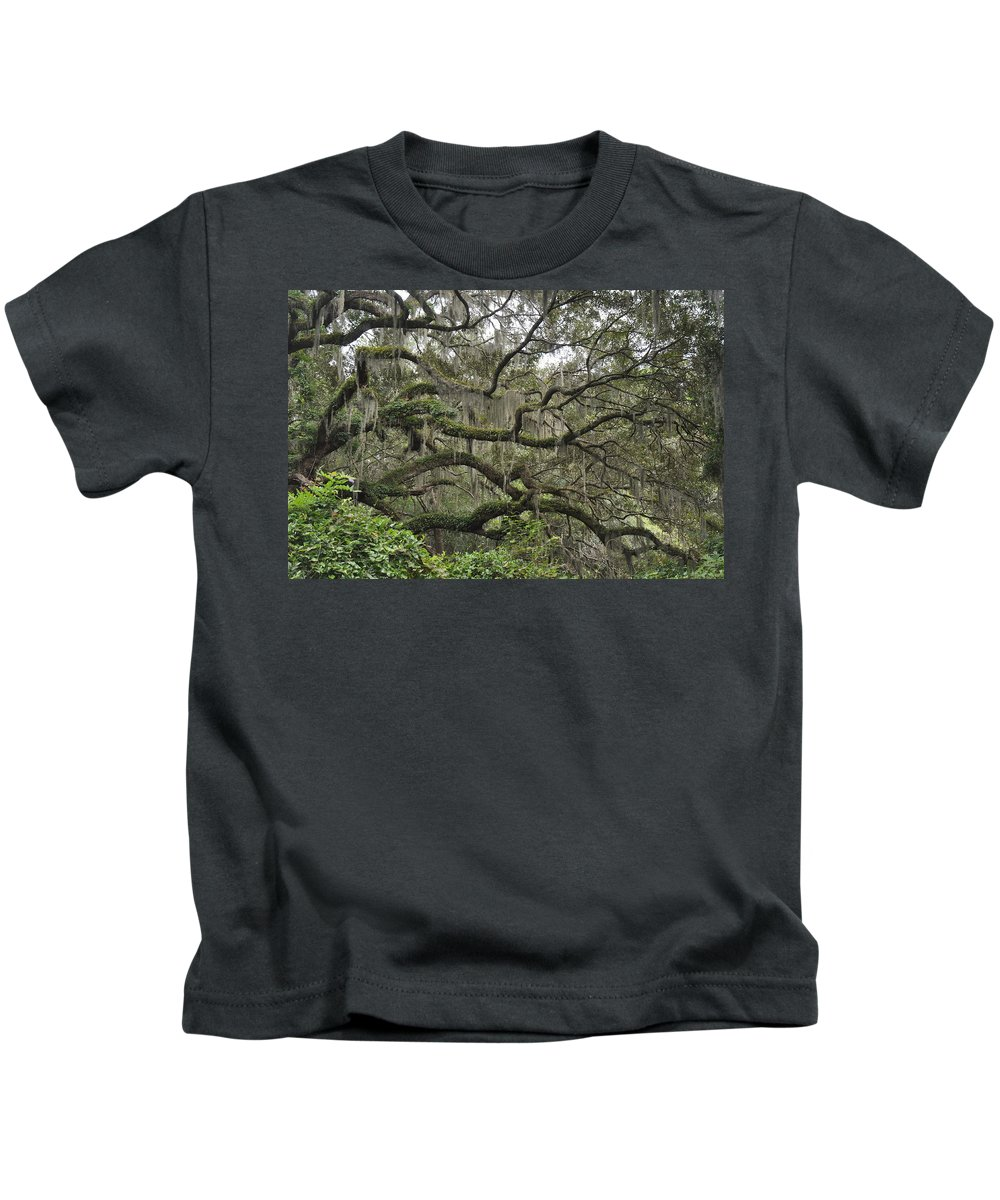 Live Oaks Kids T-Shirt featuring the photograph Live Oaks And Spanish Moss B by Kay Mathews